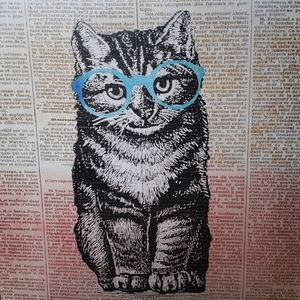 Cat with blue glasses canvas 10x10 wall art